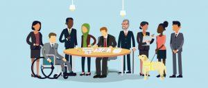 Illustrazione: scrivania circondata da lavoratori con varie diversità: un uomo in carrozzina, una donna con il velo, un signore anziano, ecc.